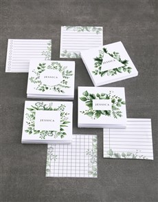 gifts: Personalised Watercolour Leaves Note Gift Set!