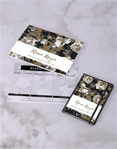 gifts: Personalised Elegant Floral Desk Stationery Set!
