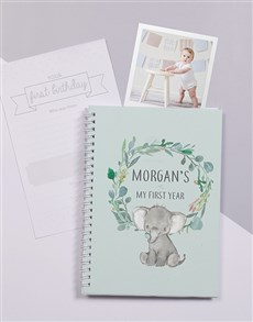 gifts: Personalised Elephant Babys First Year Journal!