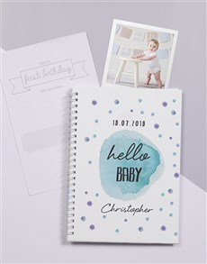 gifts: Personalised Blue Polka Dots Baby Journal!
