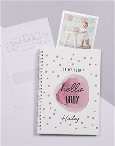 gifts: Personalised Pink Polka Dot Baby Journal!