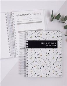 gifts: Personalised Modern Terrazzo Wedding Journal!