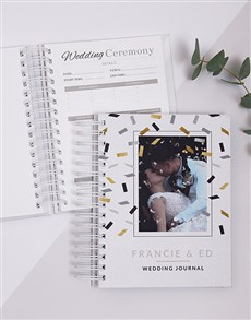 gifts: Personalised Photo Gold Confetti Wedding Journal!