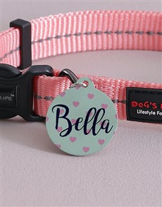gifts: Personalised Pink Hearts ID Tag And Collar!