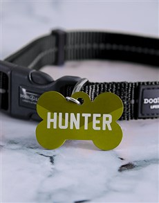 gifts: Personalised Olive Green Bone ID Tag And Collar!