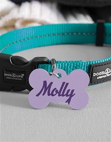 gifts: Personalised Lavender Bone ID Tag And Collar!