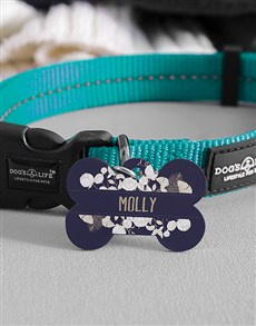 gifts: Personalised White Flowers Bone ID Tag And Collar!