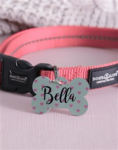 gifts: Personalised Pink Hearts Bone ID Tag And Collar!
