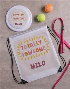 gifts: Personalised Pawsome Frisbee and Drawstring Bag!