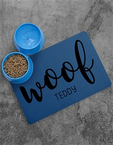 gifts: Personalised Woof Placemat and Bowls!