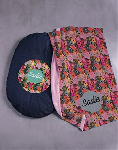 gifts: Personalised Floral Slumber Dog Bed and Blanket!
