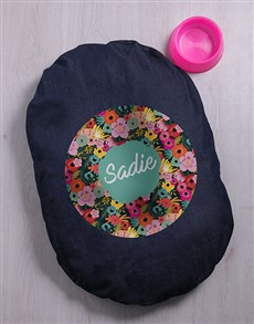 gifts: Personalised Floral Dog Denim Bed!