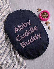 gifts: Personalised Cuddle Time Dog Denim Bed!