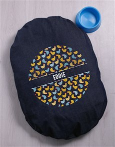 gifts: Personalised Cluck Cluck Dog Denim Bed!