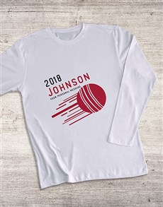 gifts: Personalised Surname Cricket Long Sleeve T Shirt!