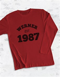 gifts: Personalised Est Year Long Sleeve T Shirt!