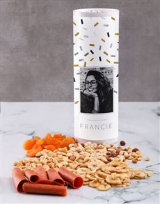 gifts: Personalised Confetti Gourmet Fruit And Nuts Tube!