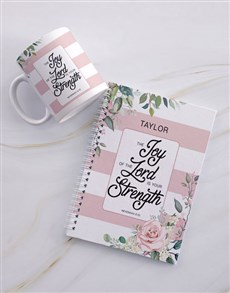 gifts: Personalised Joyous Strength Mug And Notebook!