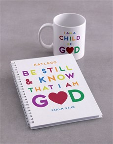 gifts: Personalised Be Still Mug And Notebook!