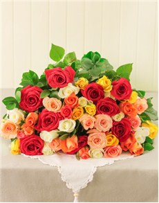 flowers: Mixed Roses in Cellophane!