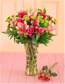gifts: Cerise Roses and Pink Lilies Gift!