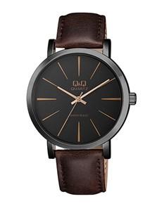 watches: QQ Gents Black Dial Dark Brown Leather Strap Watch!