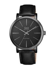 gifts: QQ Gents Black Dial and Black Leather Strap Watch!