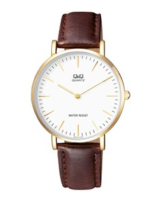 watches: QQ Gents White Dial and Brown Leather Strap Watch!