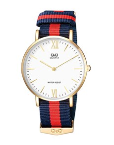gifts: QQ Gents Watch With Navy and Red Canvas Strap!