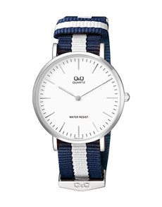 gifts: QQ Gents Watch With Navy and White Canvas Strap!