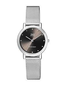 watches: QQ Ladies Steel Round Black Dial Mesh Watch!