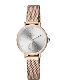 watches: QQ Ladies Rose Gold Plated Mesh Silver Dial Watch!