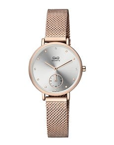 gifts: QQ Ladies Rose Gold Plated Mesh Silver Dial Watch!