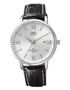 gifts: QQ Silver Dial and Black Croco Strap Gents Watch!