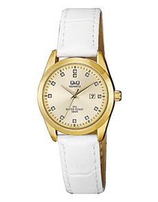 gifts: QQ Ladies Yellow Gold White Leather Strap Watch!