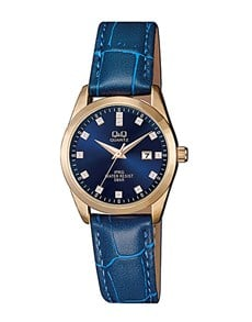 watches: QQ Ladies Blue Dial and Croco Leather Watch!