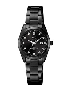 watches: QQ Ladies Black Steel Dial Watch!