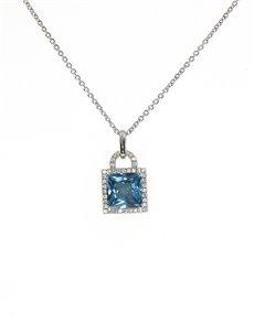 jewellery: Sterling Silver CZ Square Topaz Necklace!