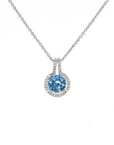 jewellery: Sterling Silver CZ Topaz Pendant!