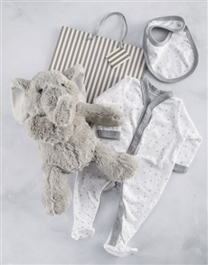 gifts: New Baby Clothes and Elephant Gift Bag!
