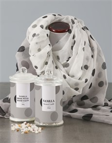 gifts: Black Polka Dot Scarf And Pamper Set!