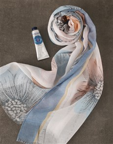 gifts: Blue Floral Scarf And Shea Hand Cream!