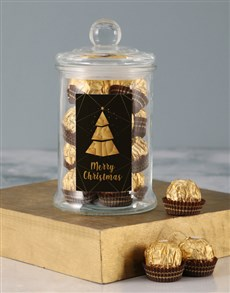 gifts: Gold Merry Christmas Ferrero Candy Jar!