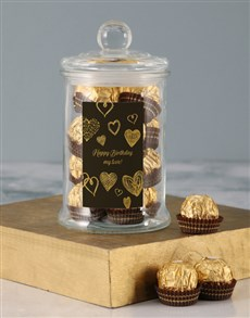 gifts: Gold Birthday Love Ferrero Candy Jar!