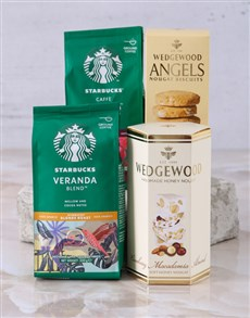 gifts: Starbucks and Wedgewood Hamper!