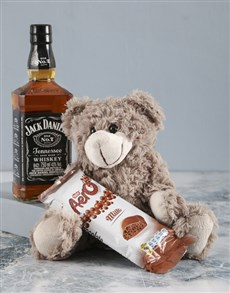 gifts: Brown Teddy And Jack Daniels Surprise!