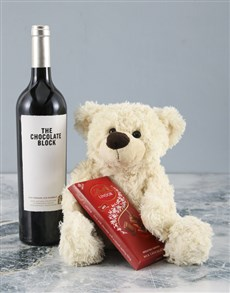 gifts: Cream Teddy and Chocolate Block Hamper!
