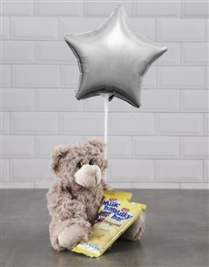 gifts: Brown Teddy And Silver Star Balloon Hamper!