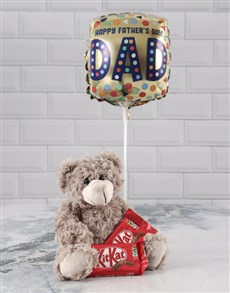 gifts: Brown Teddy And Balloon Hamper For Dad !