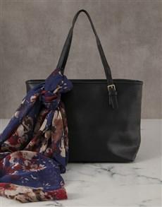 gifts: Elegant Black Handbag And Scarf!